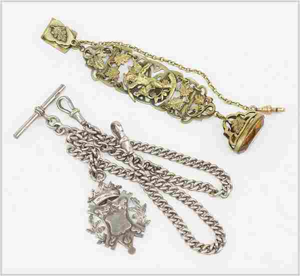 An English Silver Watch Chain and Fob.