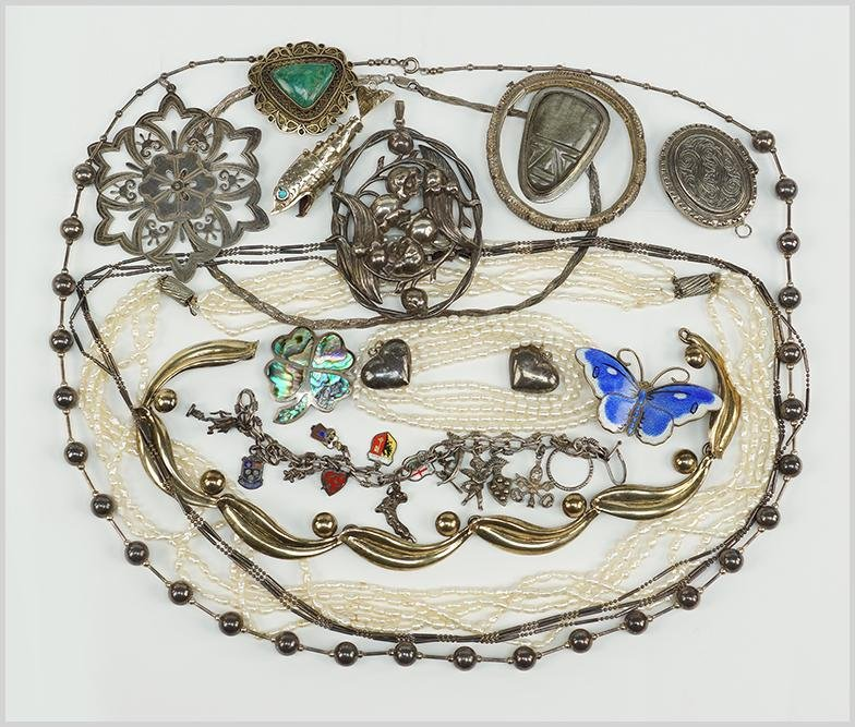 A Collection of Silver Jewelry.
