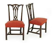 A Pair of Chippendale Style Carved Mahogany Side