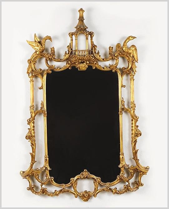 A Chinese Chippendale Style Gilt Wood Mirror.
