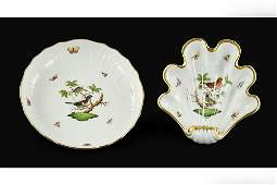 Two Herend Porcelain Rothschild Bird Dishes