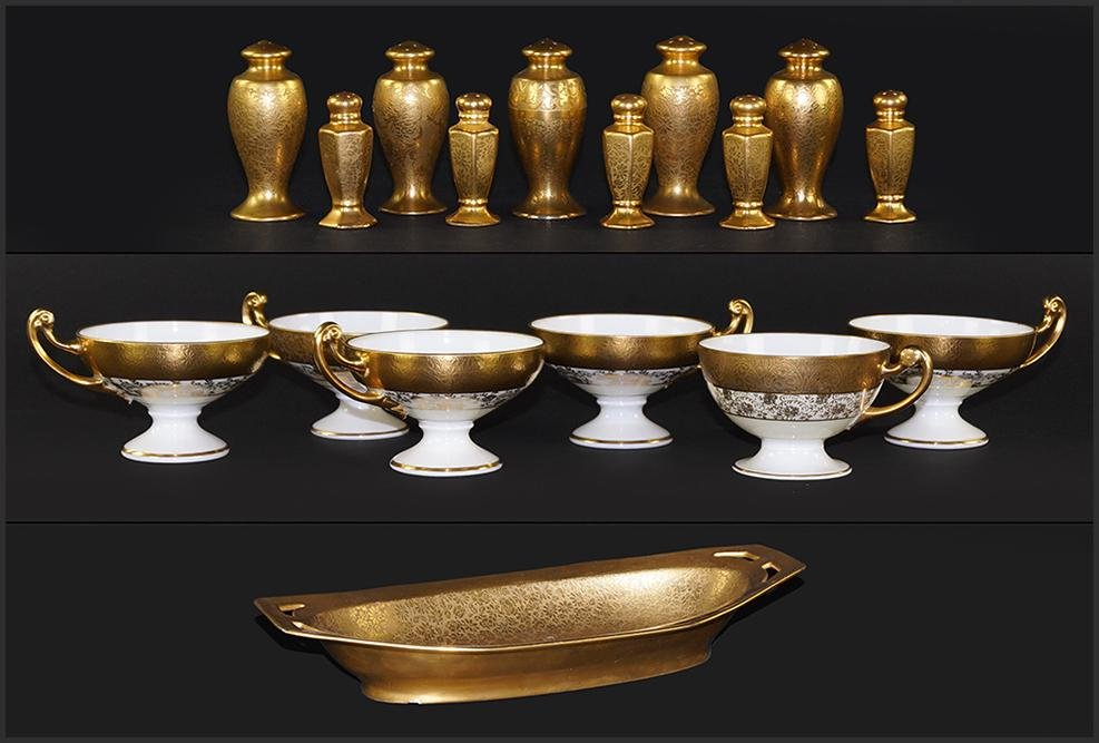 A Collection of Gilt Porcelain Table Articles.