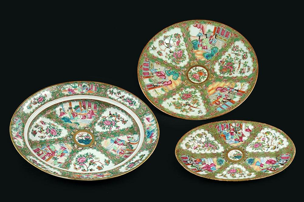 Three Chinese Rose Medallion Porcelain Seving Platters.