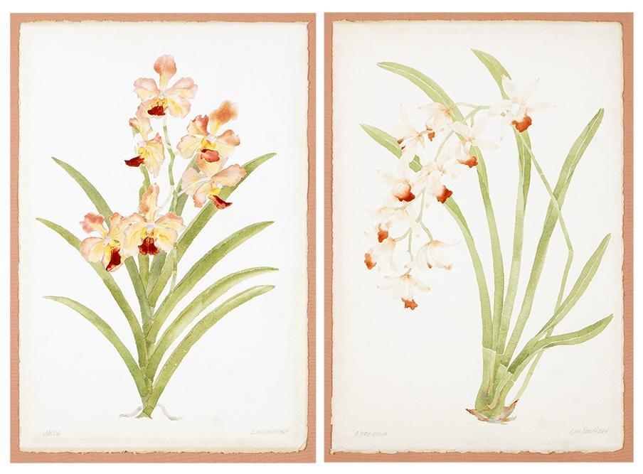 Lin Smith (American, Contemporary) Orchids: Vanda and