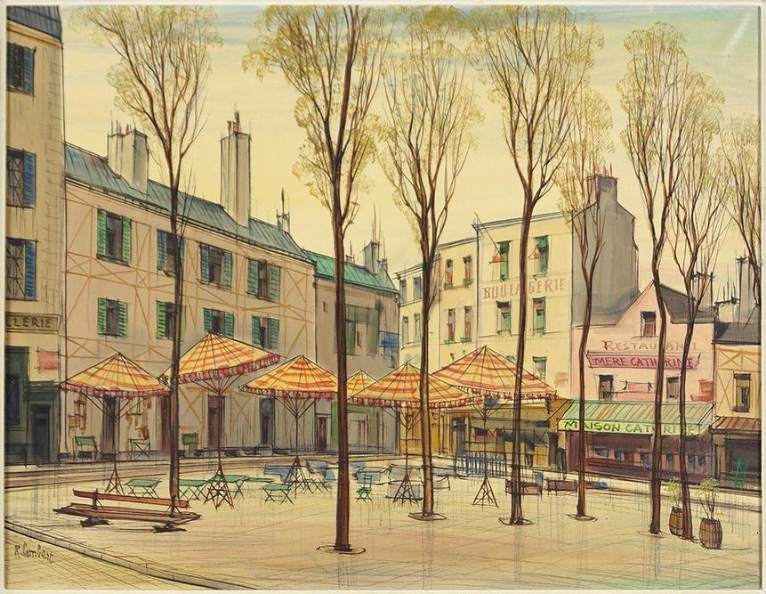 R. Lambert (French, 20th Century) Place du Terte,
