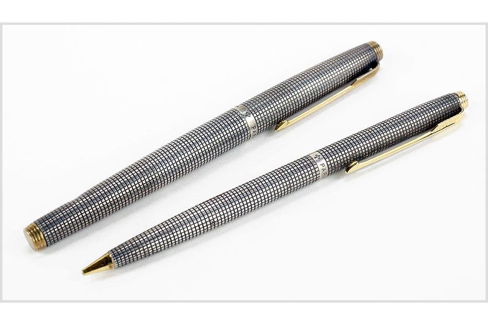 Parker Sterling Silver Pen and Pencil Set.