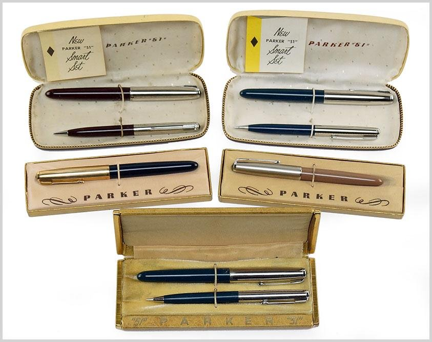 Group of Parker 51 Fountain Pens and Pencil Sets.