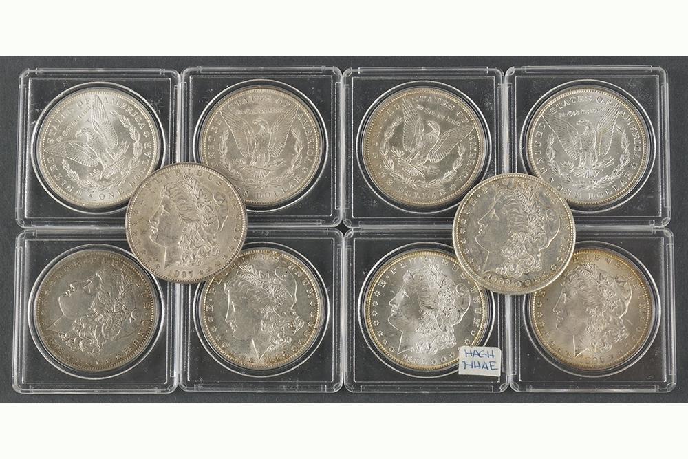 Ten Morgan Silver Dollars.