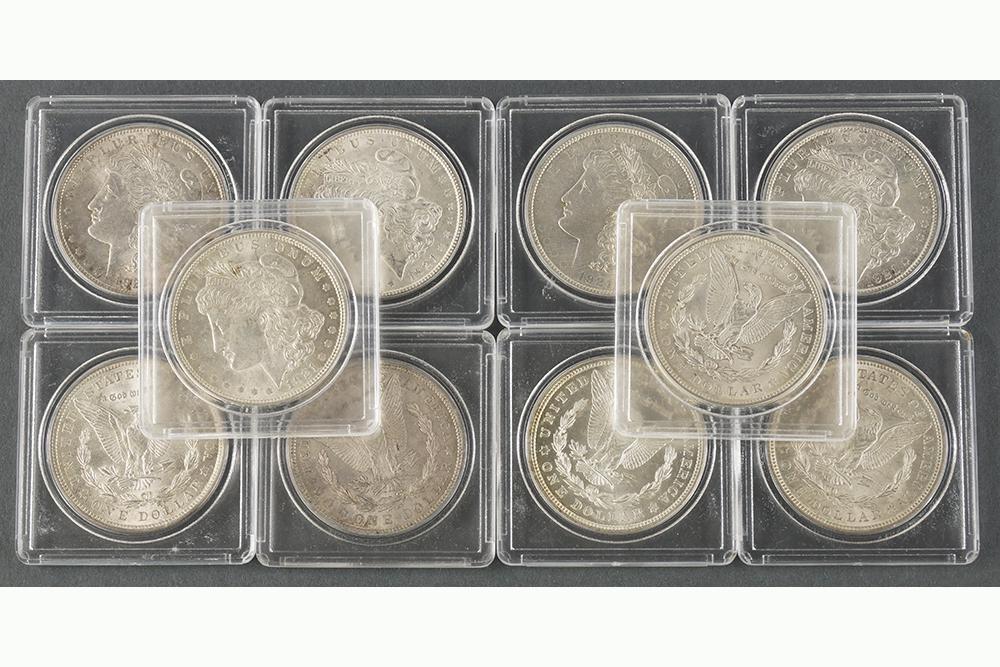 Ten 1921 Morgan Silver Dollars.