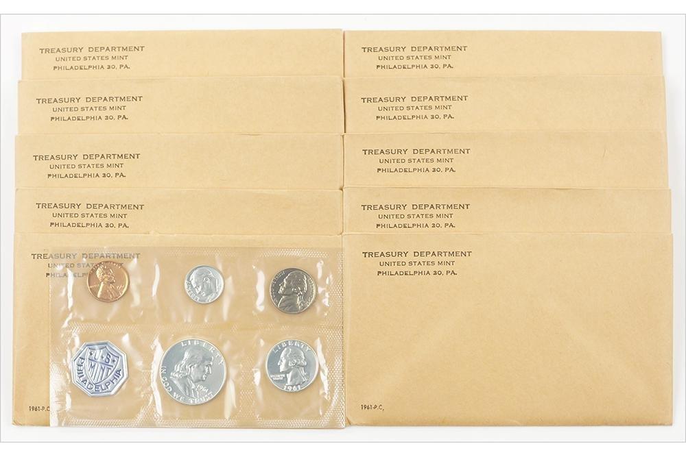 TEN US TREASURY 1961 PROOF COIN SETS.