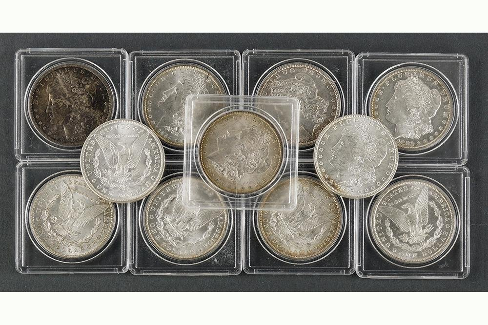 Ten Morgan Silver Dollars.