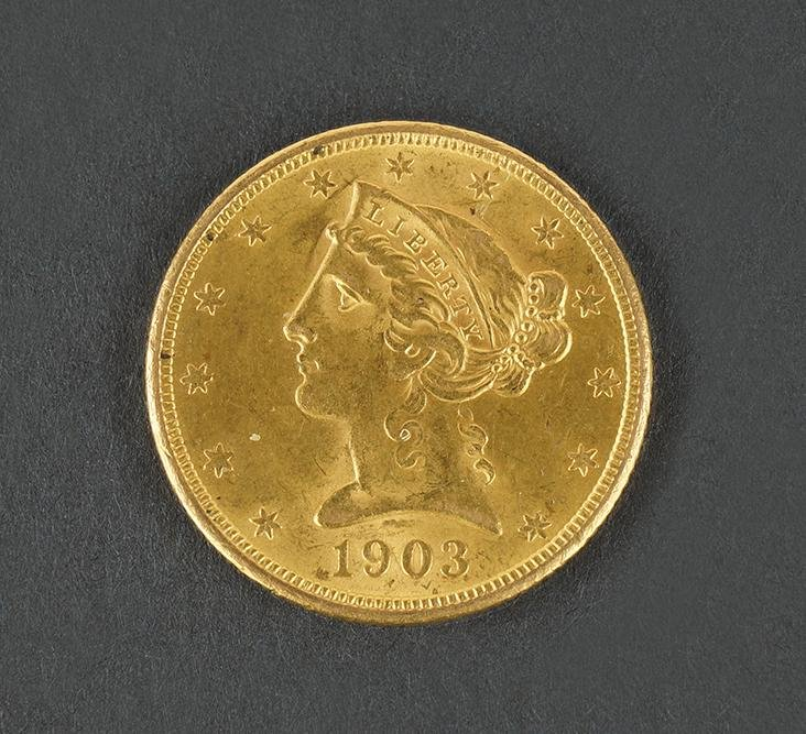 1903-S $5 Liberty Head Gold Coin.