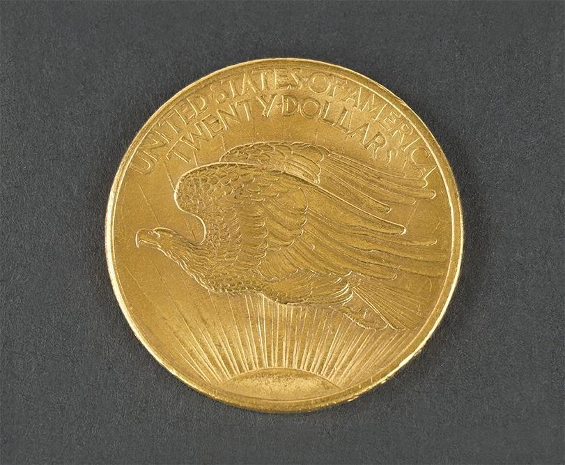 1908 $20 No Motto Saint Gaudens Double Eagle Gold Coin.