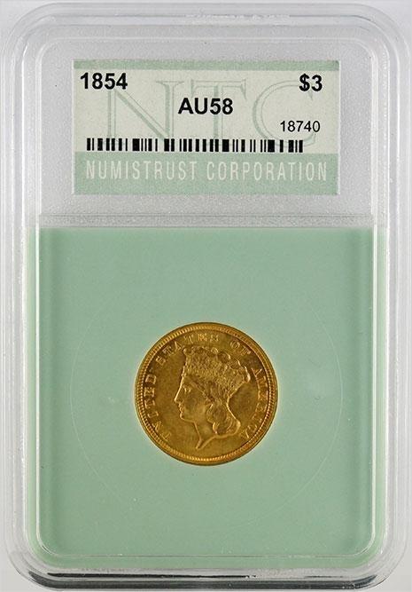1854 $3 Indian Princess Gold Coin.