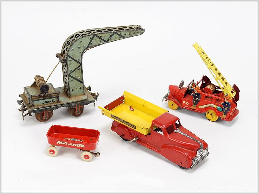 Group of Vintage Toys Trucks and Train Crane Car.