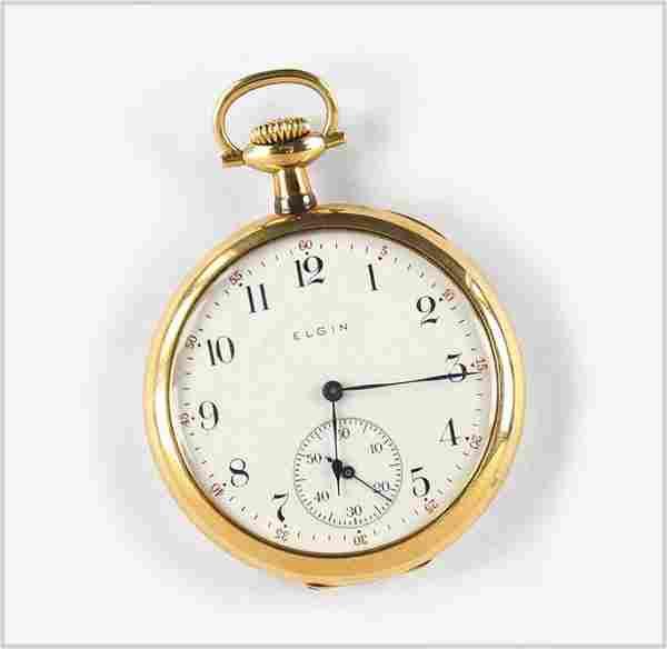 Elgin 14k Yellow Gold Pocket Watch.