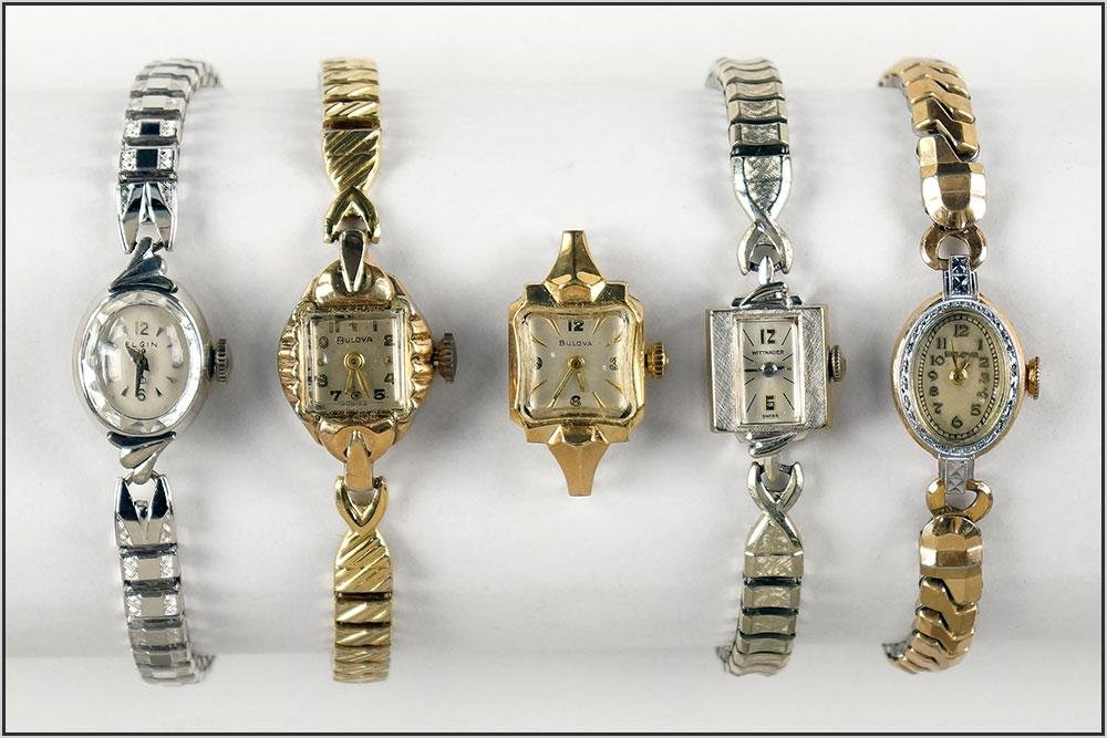Bulova, Elgin and Wittnauer Lady's Wrist Watches.