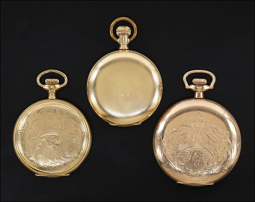 Three Elgin Gold filled Pocket Watches.