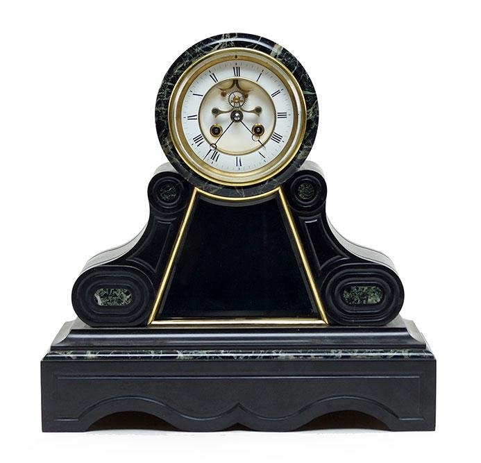 A Slate and Marble Mantle Clock.