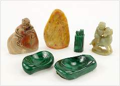 A Collection of Chinese Carved Stone Items.