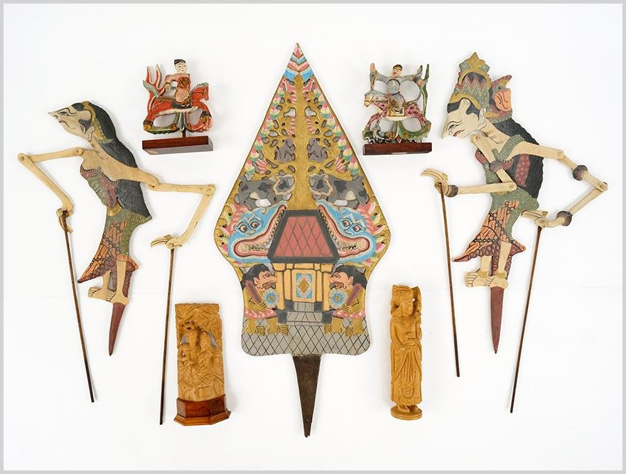 A Set of Thai Carved and Painted Wood Stick Puppets.