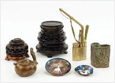 A Collection of Asian Patinated Metal Items