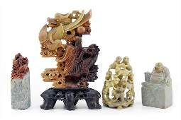 A Collection of Chinese Carved Soapstone.