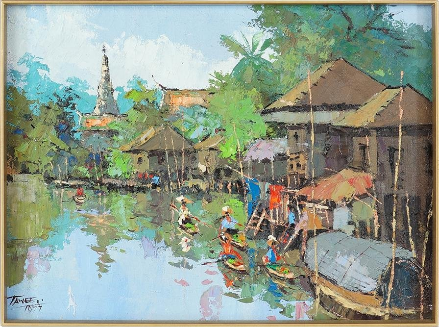Tawee Nandakwang (Thai, 1925-1991) Village Canal Scene.
