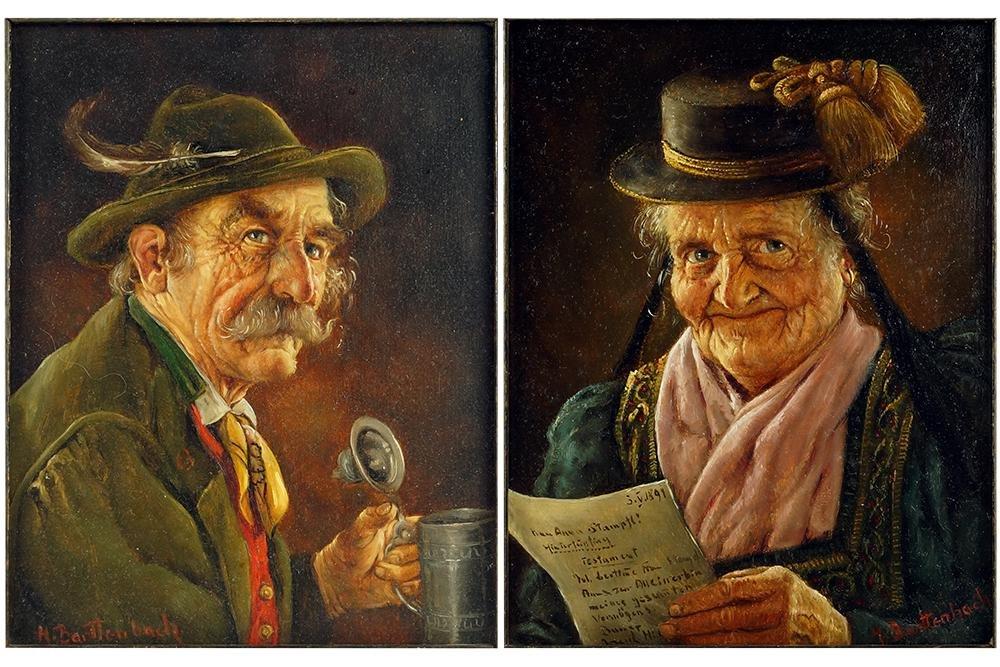 Hans Barttenbach (German, B. 1908) A Pair of Portraits.