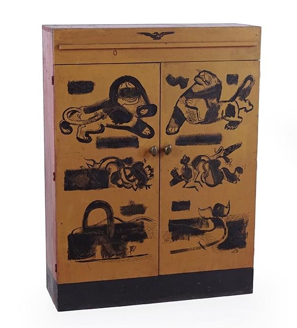 A Chinese Painted Wood Cabinet.