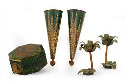 A Pair of Palm Tree Form Tole Candlesticks