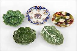 A Pair of French Majolica Strawberry Plates