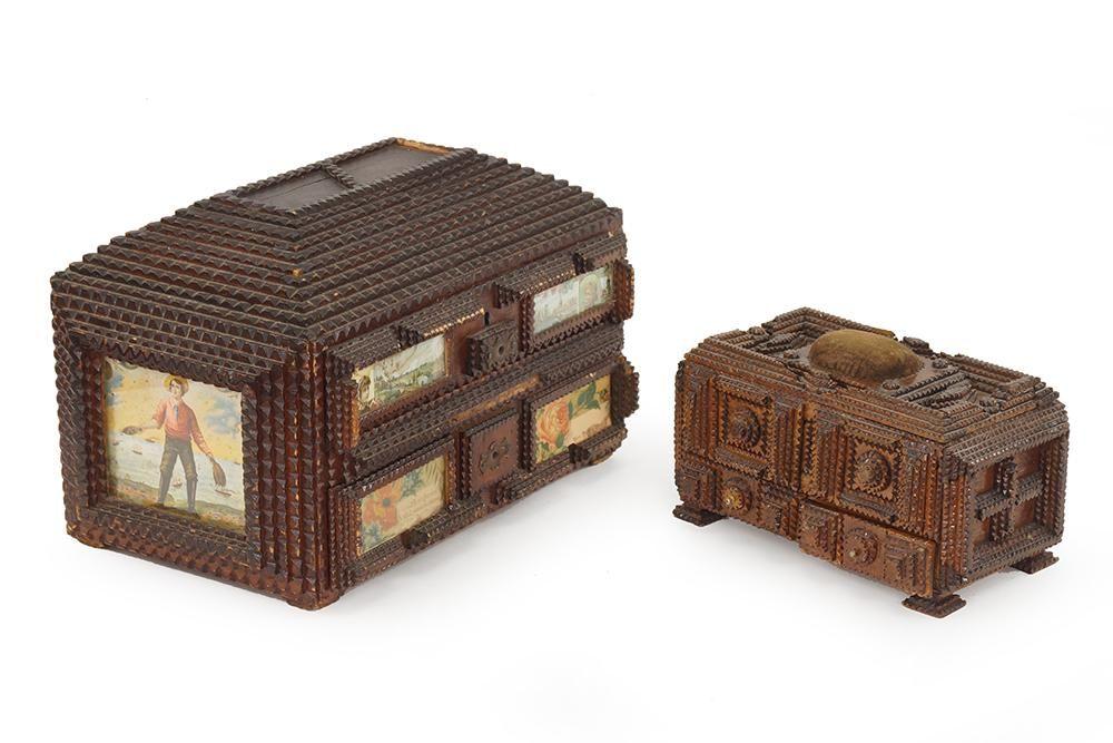 A Tramp Art Sewing Box.