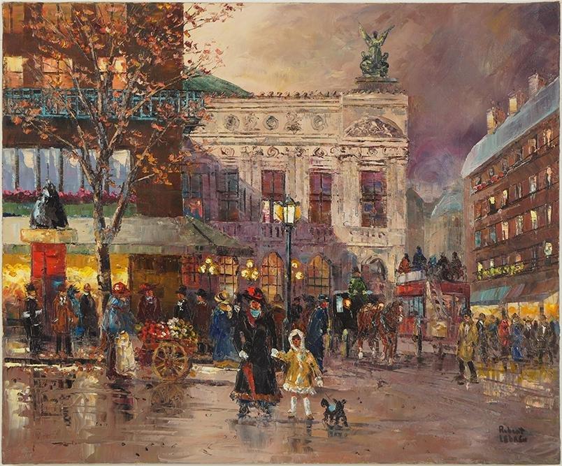 Robert Lebron (American, 1928-2013) Place de l'Opera.