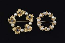 Two Pearl and 14 Karat Yellow Gold Brooches.