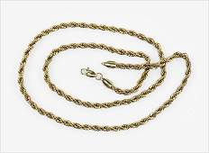 A 14 Karat Yellow Gold Rope Necklace.