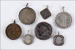 Three Sterling Silver Mounted Israeli Coin Pendants.