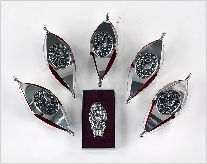 Five International Sterling Silver Ornaments.