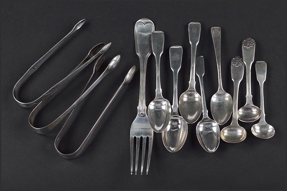 A Collection of Georgian English Silver Flatware.