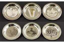 Six Franklin Mint Sterling Silver Plates.