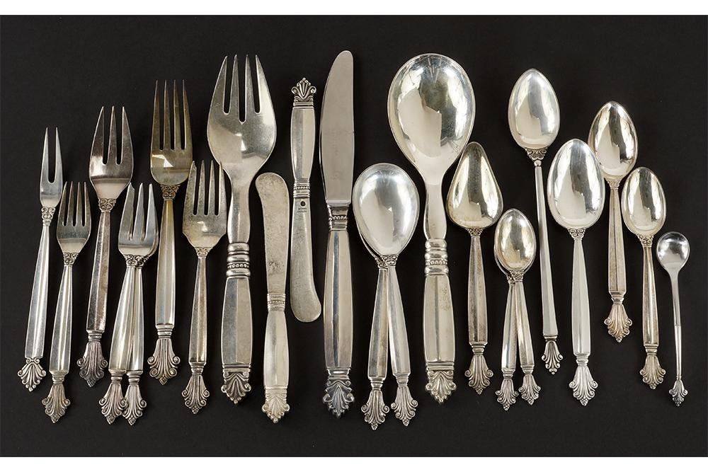 A Collection of Georg Jensen Sterling Silver Utensils.