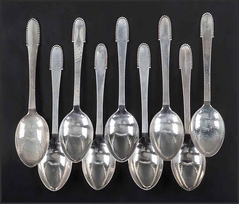 A Set of Nine Georg Jensen Sterling Silver Dessert /