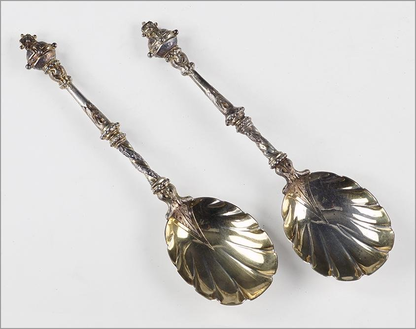 A Pair of Victorian English Silver Spoons.