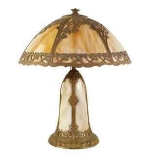A Slag Glass Table Lamp.