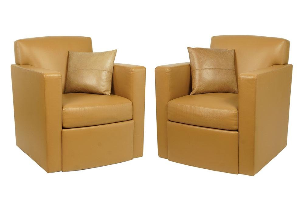 A Pair of Holly Hunt Tan Leather Armchairs.