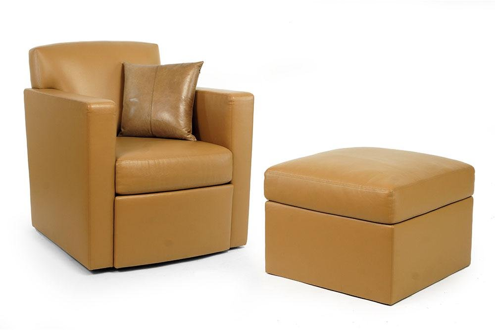 A Holly Hunt Tan Leather Armchair and Ottoman.