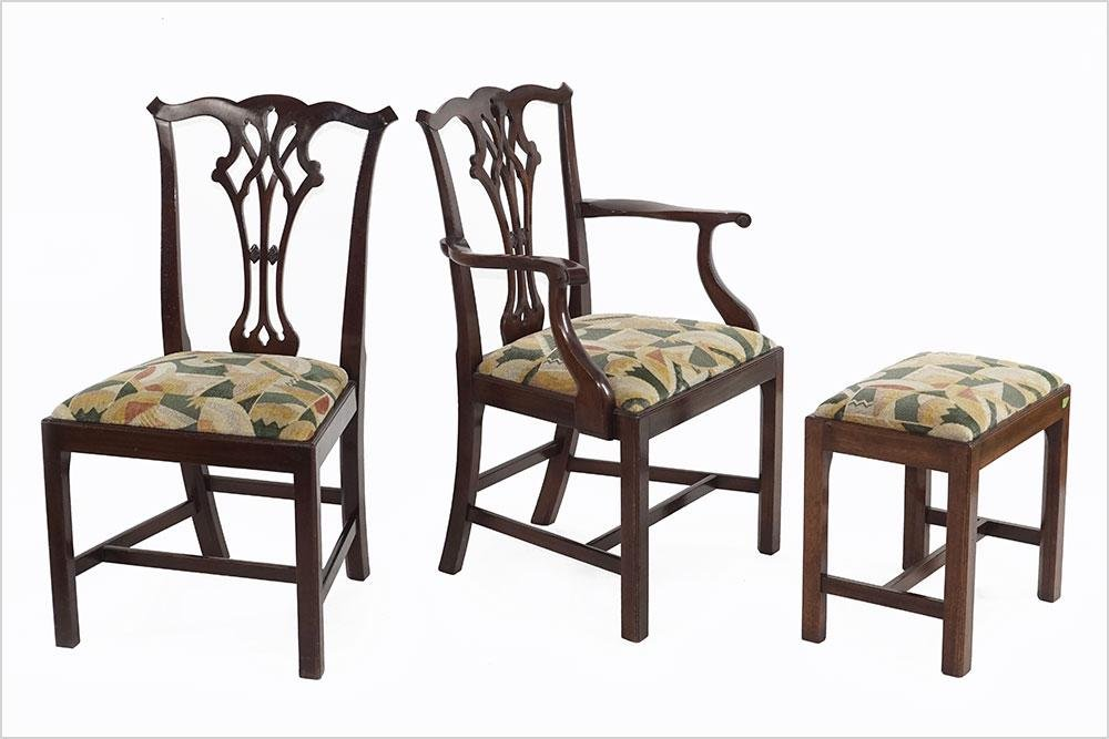 A Set of Six Chippendale Style Dining Chairs.