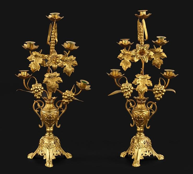 A Pair of Brass Five-Light Ecclesiastical Candelabra.