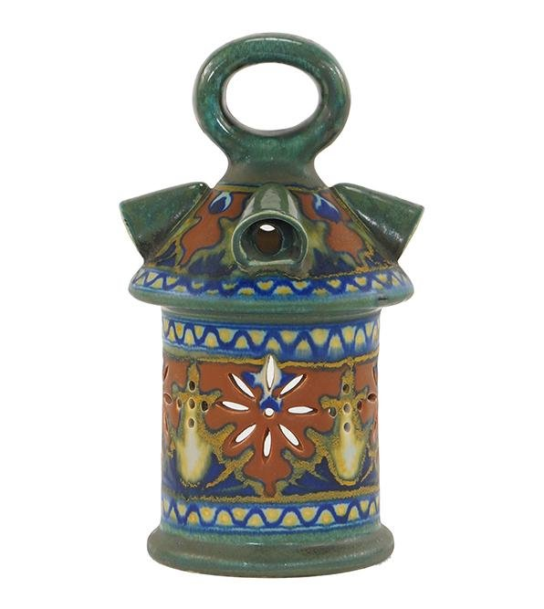 A Dutch Gouda Glazed Pottery Hanging Lantern.