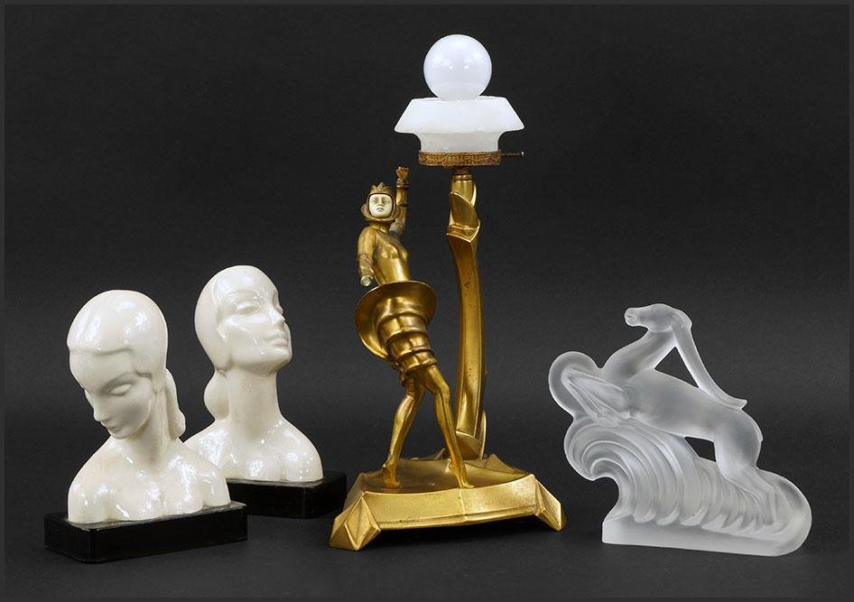 A Collection of Art Deco Style Decorative Items.